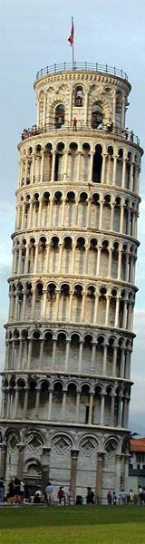 Leaning Tower of Pisa in Italy - Height: 183 feet (56 meters)